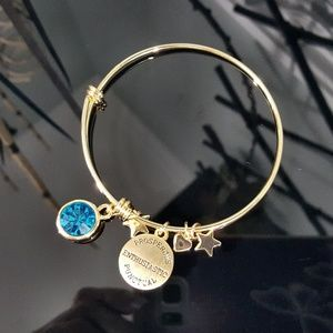 Jewelry - Simulated Blue Zircon Bangle Bracelet